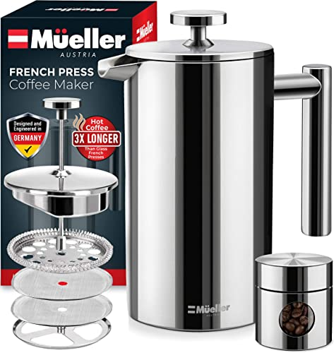 Mueller French Press 20 Heavier Duty Double Insulated 310 Stainless Steel Coffee Maker 4 Level Filtration System 100 No Coffee Grounds Guarantee, Rust-Free, Dishwasher Safe