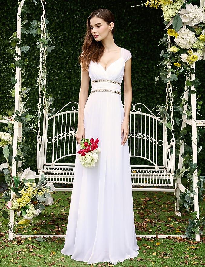 Vestido largo de Ever Pretty (08697), para noche elegante con escote de pico, para mujer Blanco blanco 40: Amazon.es: Ropa y accesorios