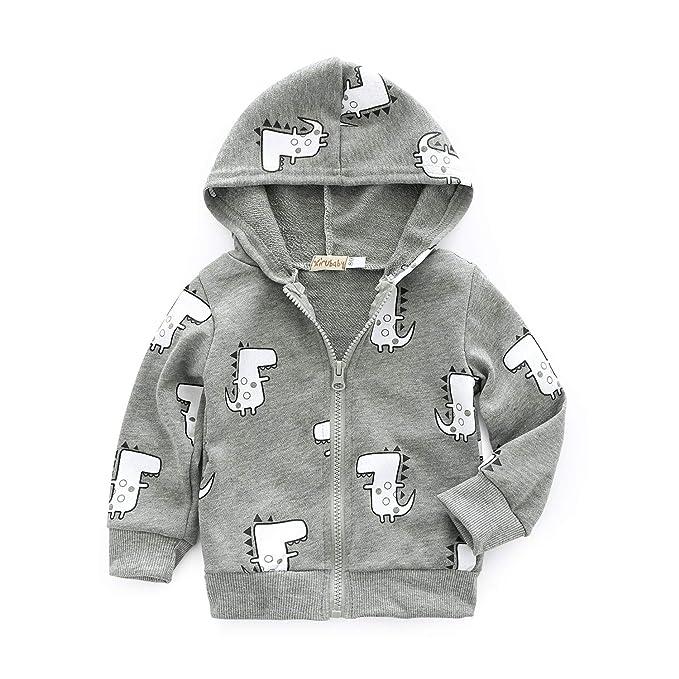 13334fed7 Dealone Baby Boy Zip Front Hoodie Sweathshirt Toddler Dinosaur Jacket  Clothes Grey