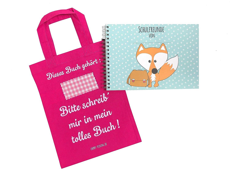 Cherry Picking Freundebuch Schule Schulfreunde Einschulung Schulkind Grundschule Poesiealbum Schulfreundebuch mit Tasche PINK