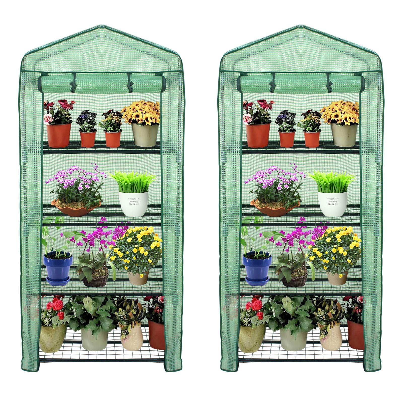 4 Tier Mini Greenhouse with PE Cover and Roll-Up Zipper Door, Waterproof Cloche Portable Greenhouse Tent-27.25'' L X 19'' W x 63'' H, Grow Seeds & Seedlings, Tend Potted Plants (2pcs)