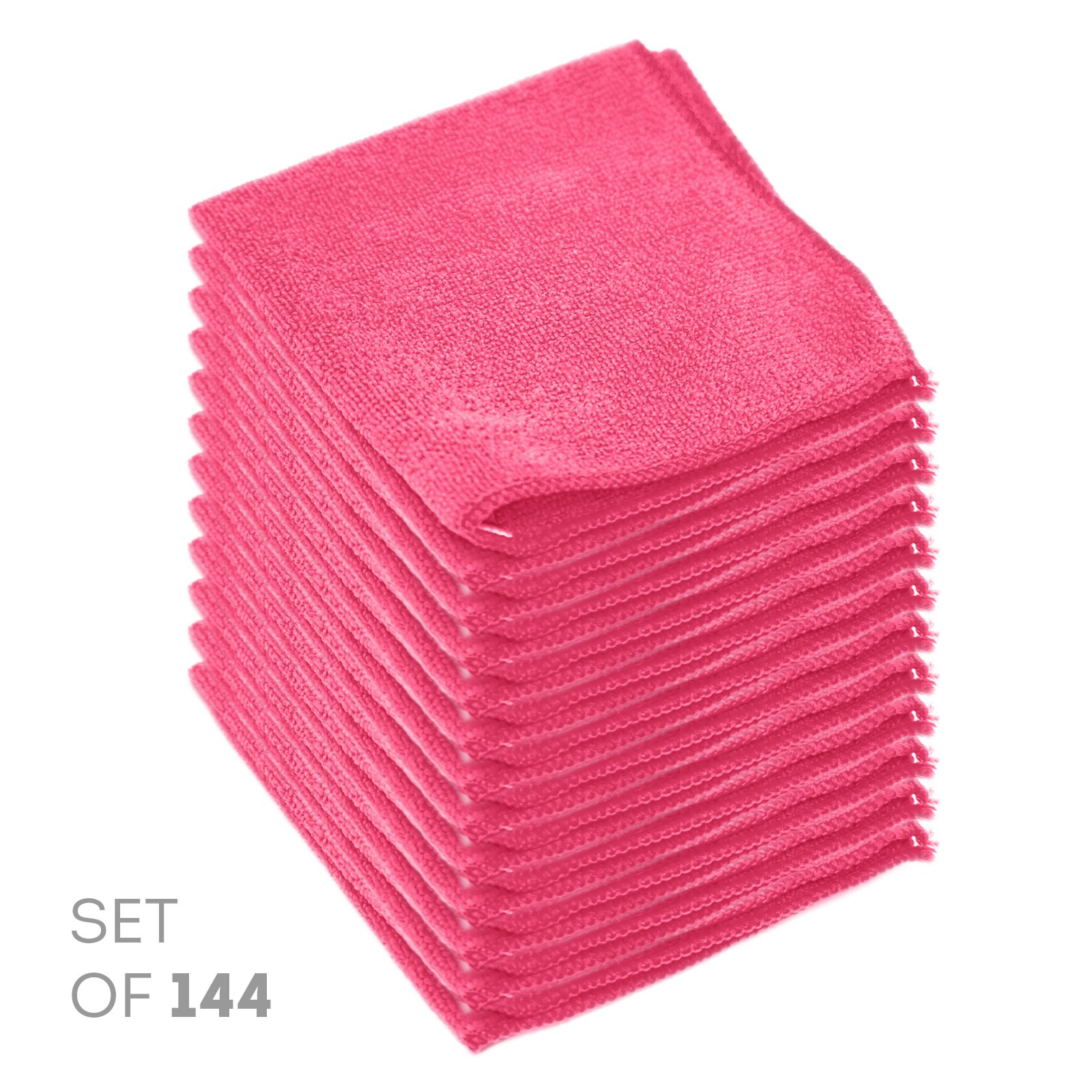Super Soft Microfiber Cleaning Cloth - Set of 144 Pink Washcloths - 12 x 12 Inches - By Etienne Alair