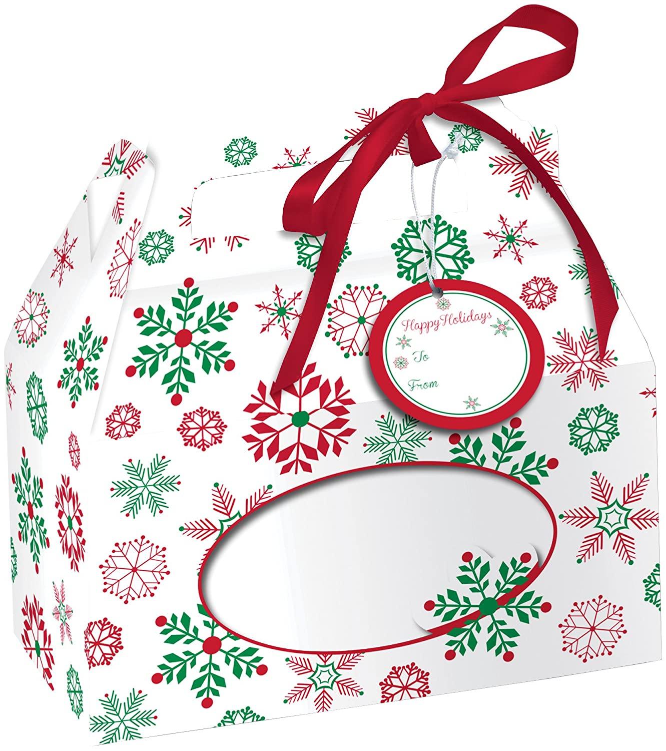 Creative Converting 4 Boxes Cookie Box with Carry Handle, Snowflakes, Clear 82203