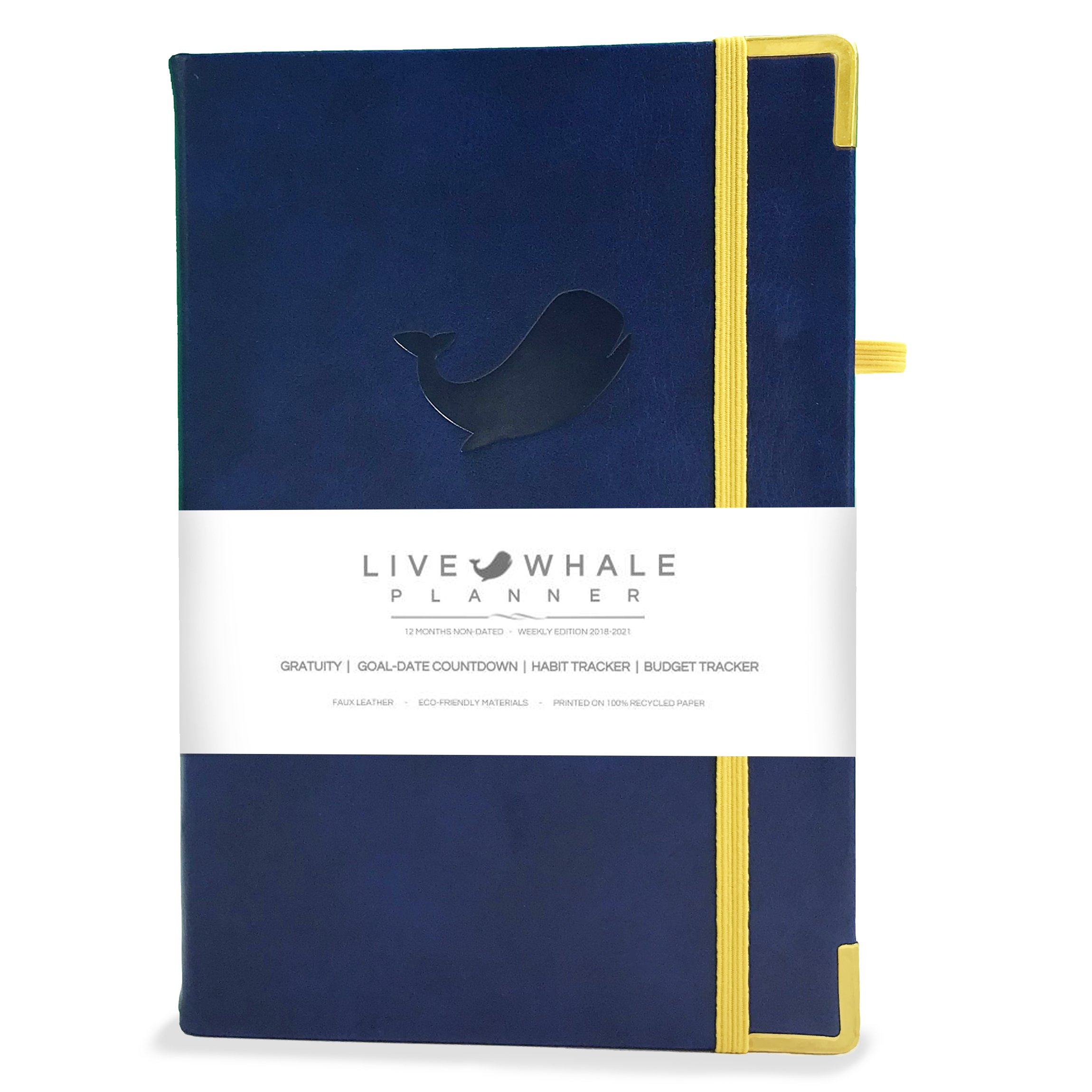 "Live Whale Planner - Weekly Edition 2018-2021 Calendar - 1 Year Non Dated - 8.3'' x 5.5"" Leather Bound - Includes Budget Tracker & Habit Tracker - Agenda Personal Organizer"