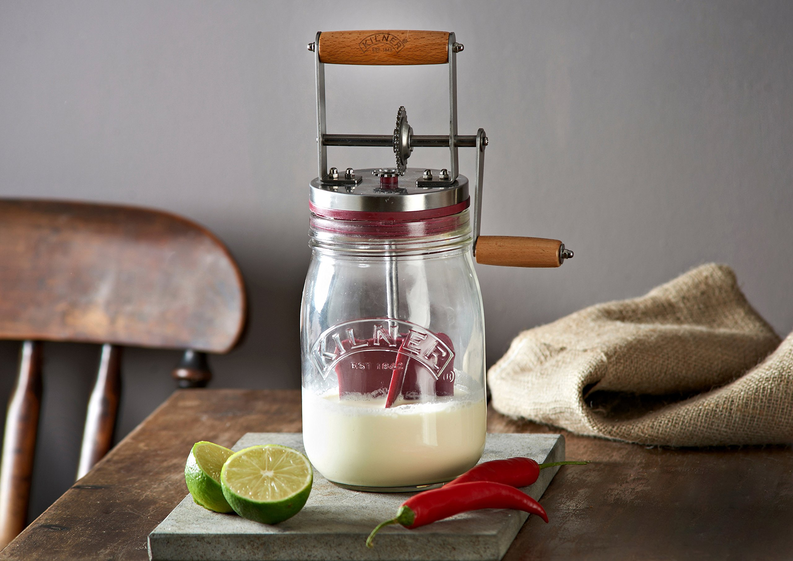 Kilner Vintage Glass Butter Churn; Delicious Homemade Butter in as Little as Ten Minutes; Large 34-Fluid Ounce Capacity; Recipes Included by Kilner (Image #5)