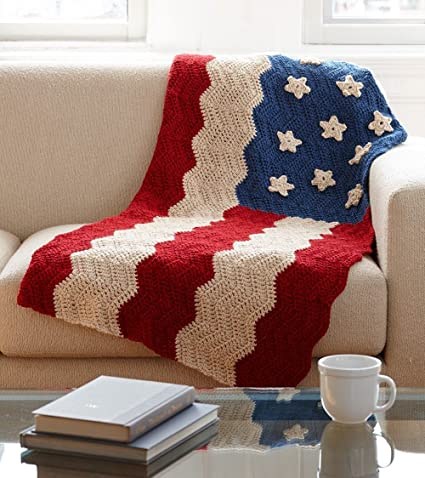 Amazon Lion Brand Yarn 600 558 Flag Afghan Crochet Kit Arts