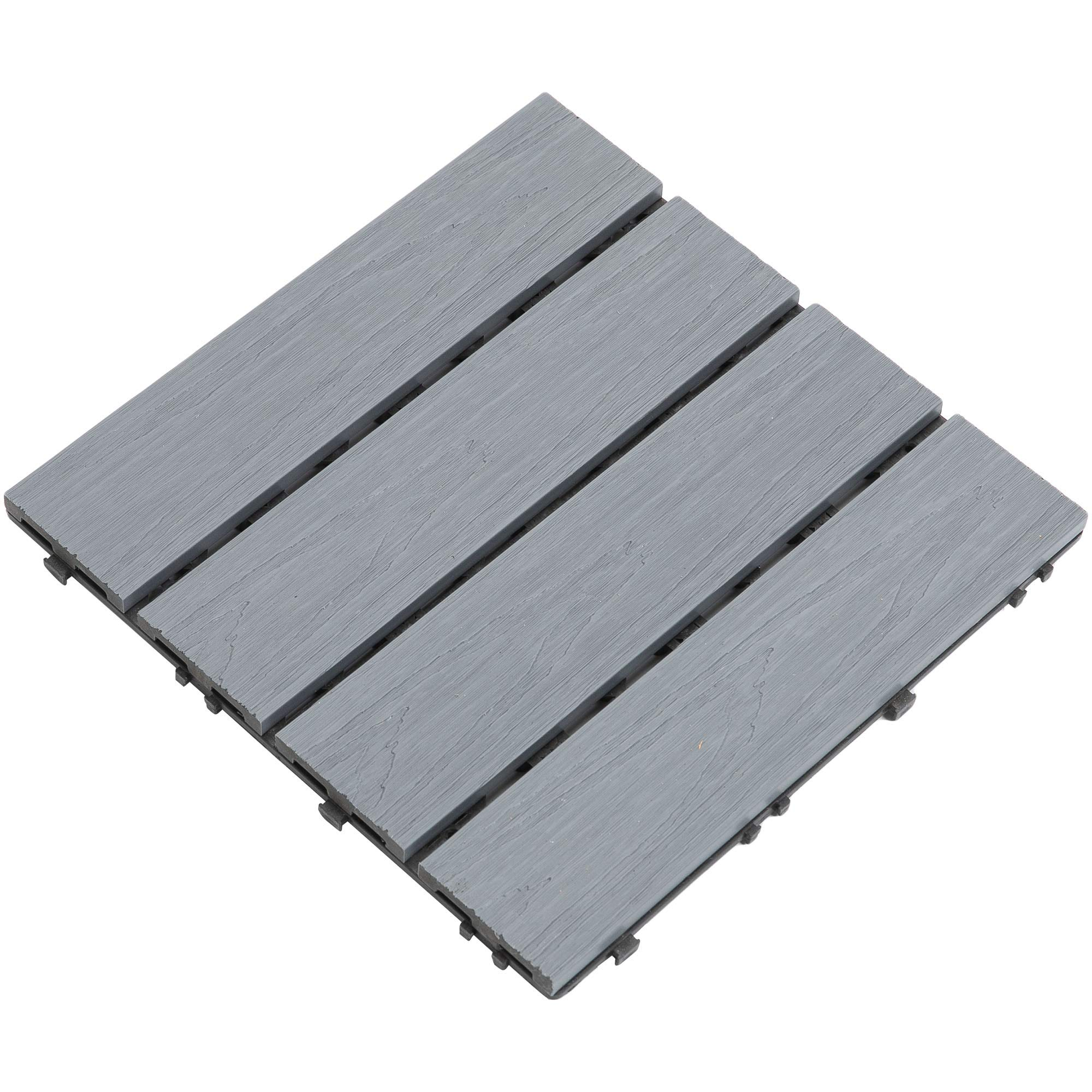 Samincom Deck Tiles Interlocking Wood-Plastic Composites Patio Pavers, Water Resistant Flooring Tiles Indoor Outdoor, 12''× 12'', Pack of 22 (22 sq.ft), Coextrusion Pattern, Gray by Samincom