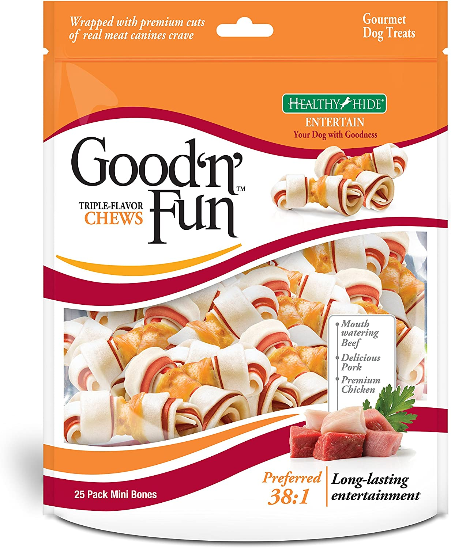 Good 'N' Fun Triple Flavor Mini Rawhide Chews
