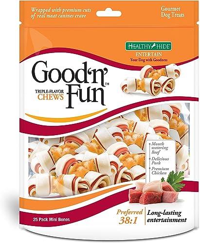 Good N Fun Triple Flavor Mini Rawhide Chews, 25-Count