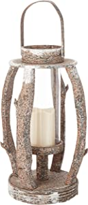 Puleo International 22 inch Tall Round Rustic Wooden Lantern with LED Candle