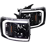Spec-D Tuning Shiny Black LED DRL Projector Headlights Lamps for 2007-2014 Chevy Silverado Pickup Head Light Assembly…