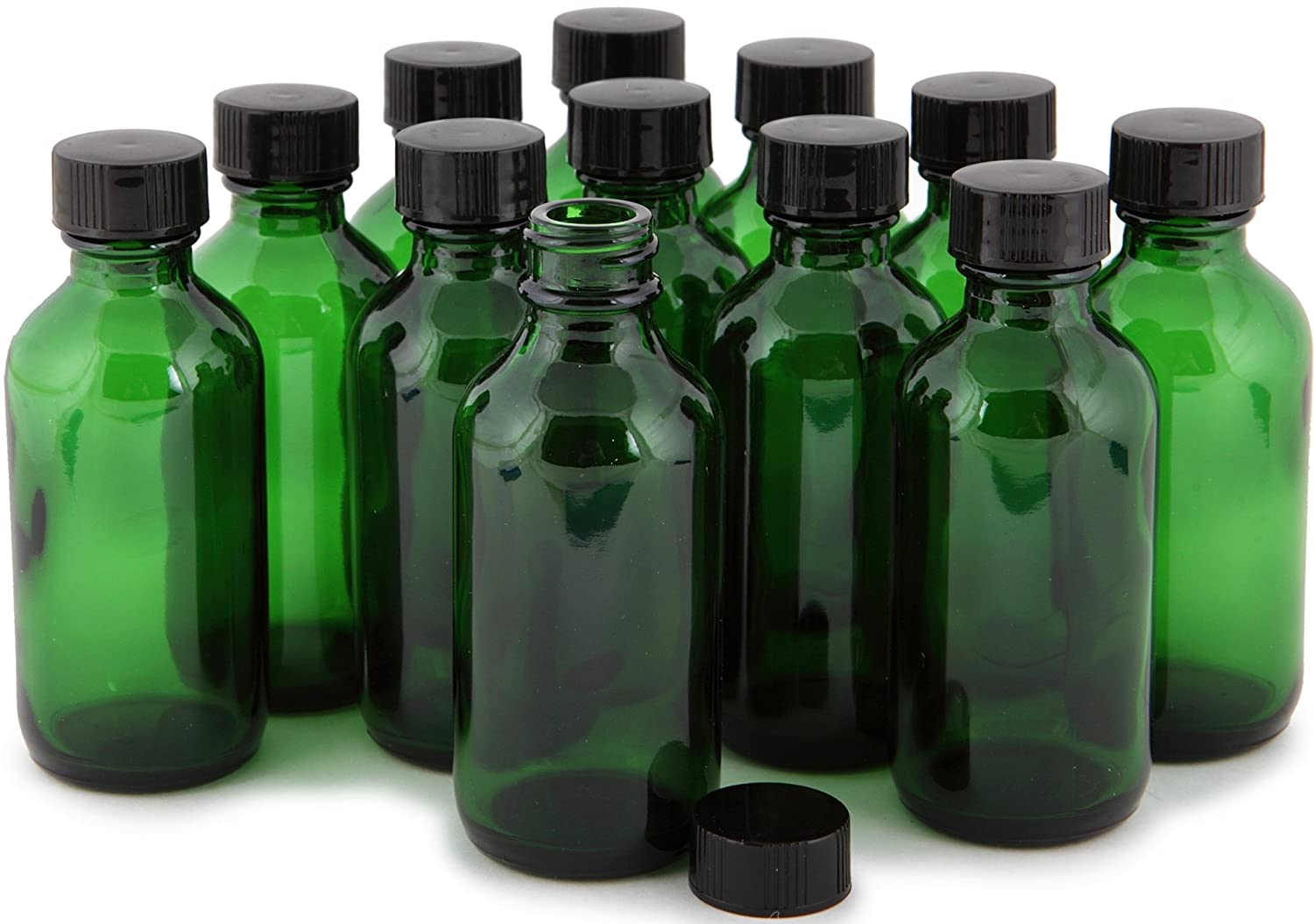 Vivaplex, 12, Green, 2 oz Glass Bottles, with Lids
