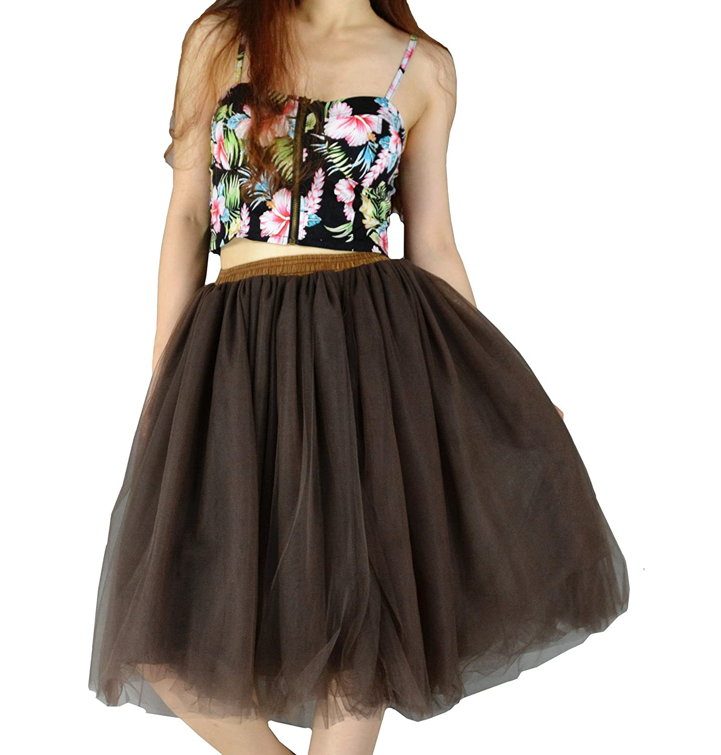 YSJ Women's Layered Tutu Tulle Knee Length A Line Prom Party Skirts J01