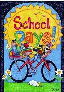 Toland Home Garden School Days 12.5 x 18 Inch Decorative Colorful Sunshine Bicycle Supplies Garden Flag