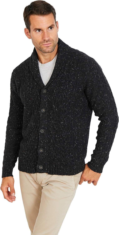 Cardigan Donegal con collo scialle da uomo Jack Stuart misto lana Aran