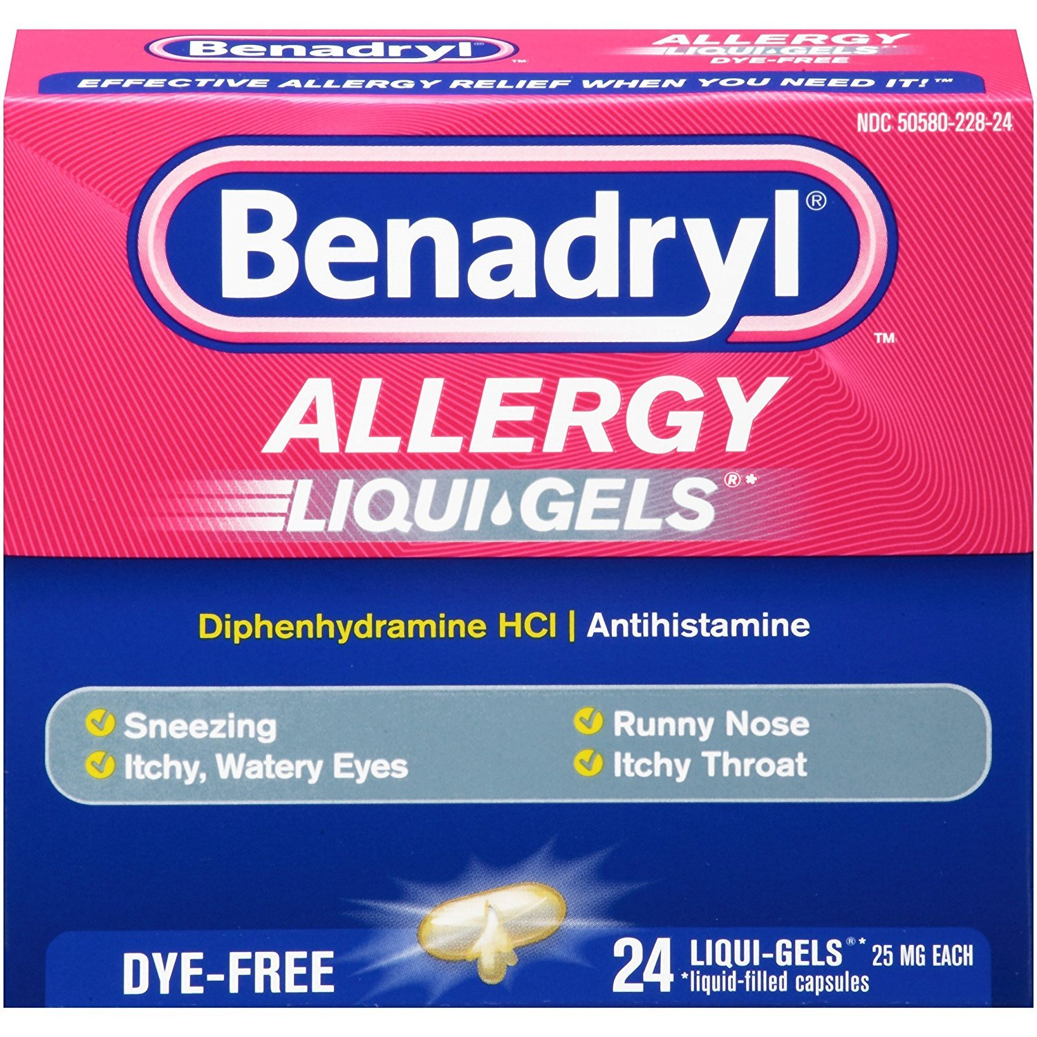 Benadryl Antihistamine Allergy Medicine & Cold Relief, Dye-Free LIQUI-GELS Tablets, Liquid Gels, 24 Count - Pack of 5