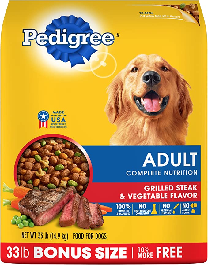 Pedigree Dog Food - Grilled Steak & Vegetable Flavor - Most Economical Dog Food for Digestive Problems