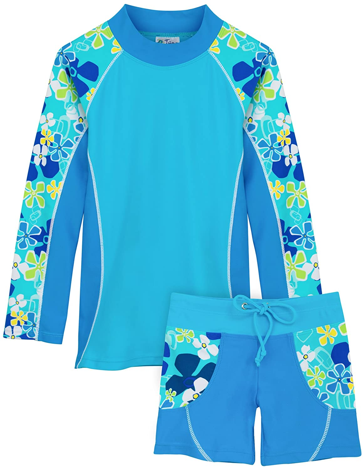 UPF 50 Sun Protection Tuga Girls Two-Piece Long Sleeve Swimsuit Set 2-14 Years