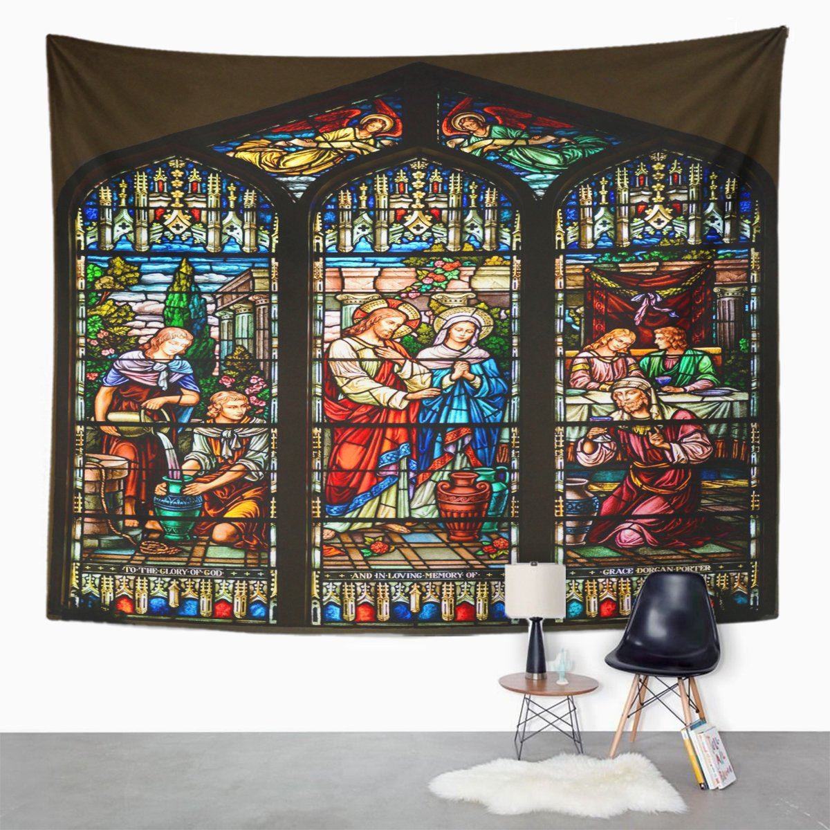 Amazon Emvency Tapestry Stained Glass Window Of St Paul Episcopal Church Key Home Decor Wall Hanging For Living Room Bedroom Dorm 50x60 Inches