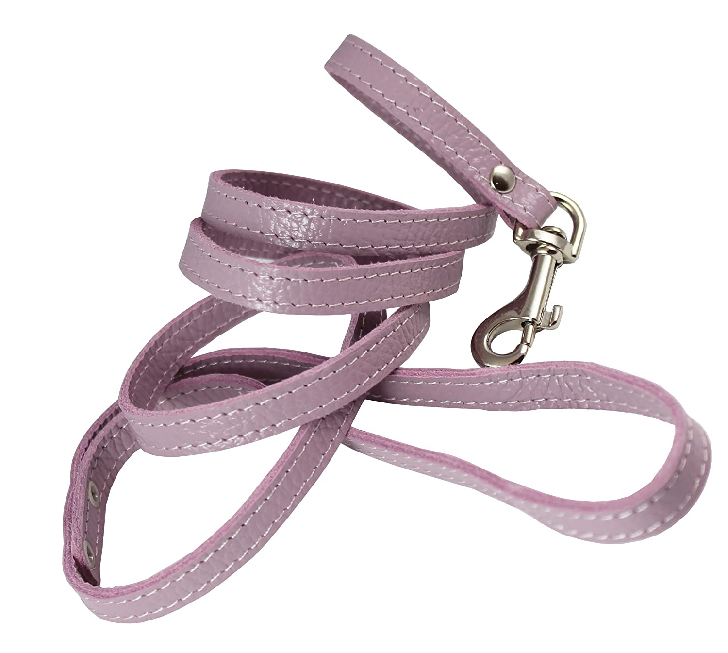4-foot Genuine Leather 1 2  Wide Dog Leash for Small Breeds (purplec)