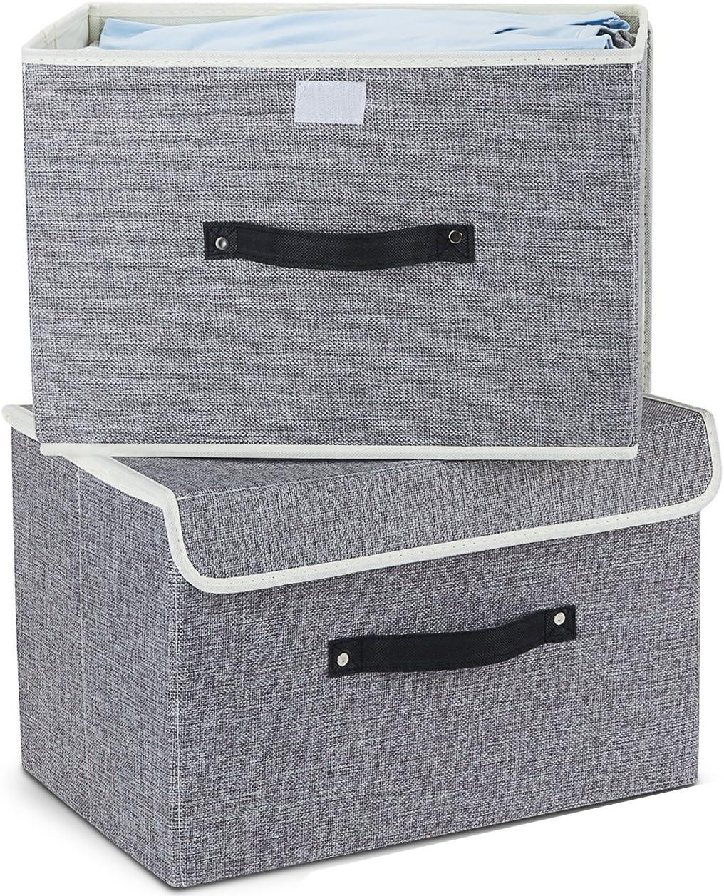 MEE'LIFE Cajas de Almacenamiento Juego de 2, Cestas de Almacenamiento Plegables de Tela de algodón Cestas con Tapas y Asas Caja de Almacenamiento para estantes Contenedor de Ropa (Gris Claro)