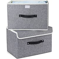 Storage Bins,Mee'life Set of Two Foldable Storage Box with Lids and Handles Storage Basket Storage Needs Containers Organizer With Built-in Cotton Fabric Closet Drawer Removable Dividers (Grey)