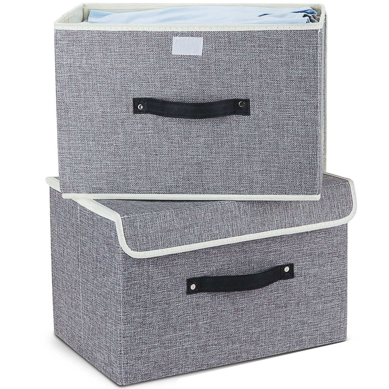 Storage Bins, Mee'life Set of Two Foldable Storage Box with Lids and Handles Storage Basket Storage Needs Containers Organizer With Built-in Cotton Fabric Closet Drawer Removable Dividers(Cream) mee' life STORAGE Others
