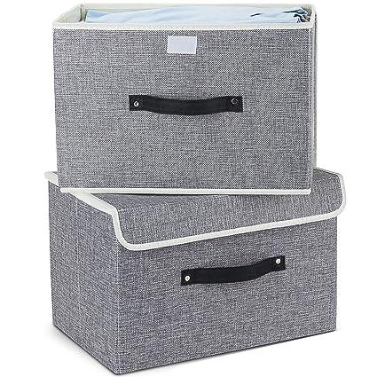 Meelife Juego de 2 cajas de almacenaje de tela Plegable con tapas y mangos
