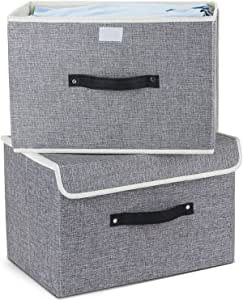 Storage Bins Set,MEE'LIFE Pack of 2 Foldable Storage Boxes Cubes with Lids and Handles Fabric Storage Basket Bin Organizer Collapsible Drawers Containers for Nursery,Closet,Bedroom,Home, Light Gray, 14.9*10.6*10.6 inches