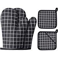 Win Change Oven Mitts and Potholders BBQ Gloves-Oven Mitts and Pot Holders with Recycled Cotton Infill Silicone Non-Slip…