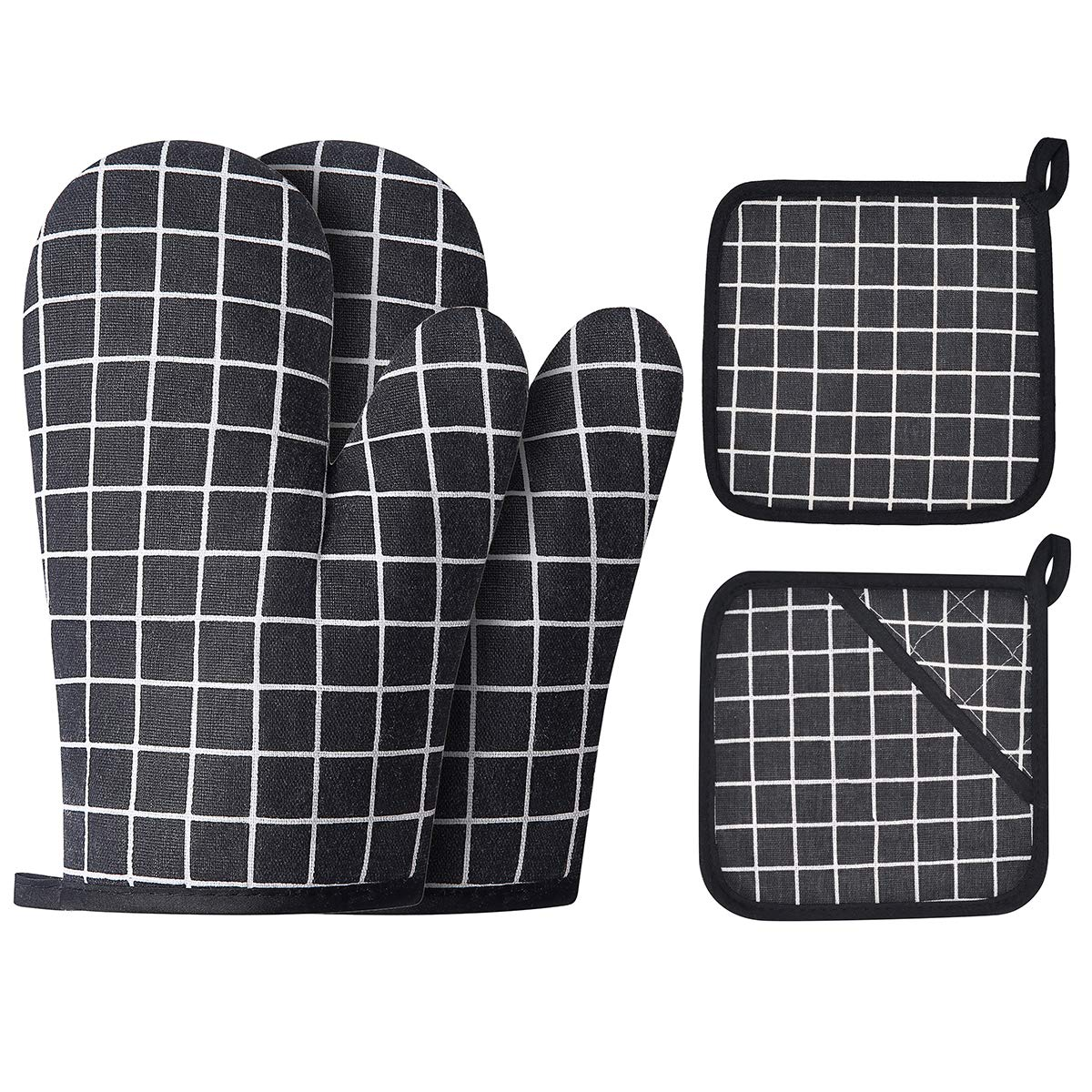 Win Change Oven Mitts and Potholders BBQ Gloves-Oven Mitts and Pot Holders with Recycled Cotton Infill Silicone Non-Slip Cooking Gloves for Cooking Baking Grilling (4-Piece Set,Black)