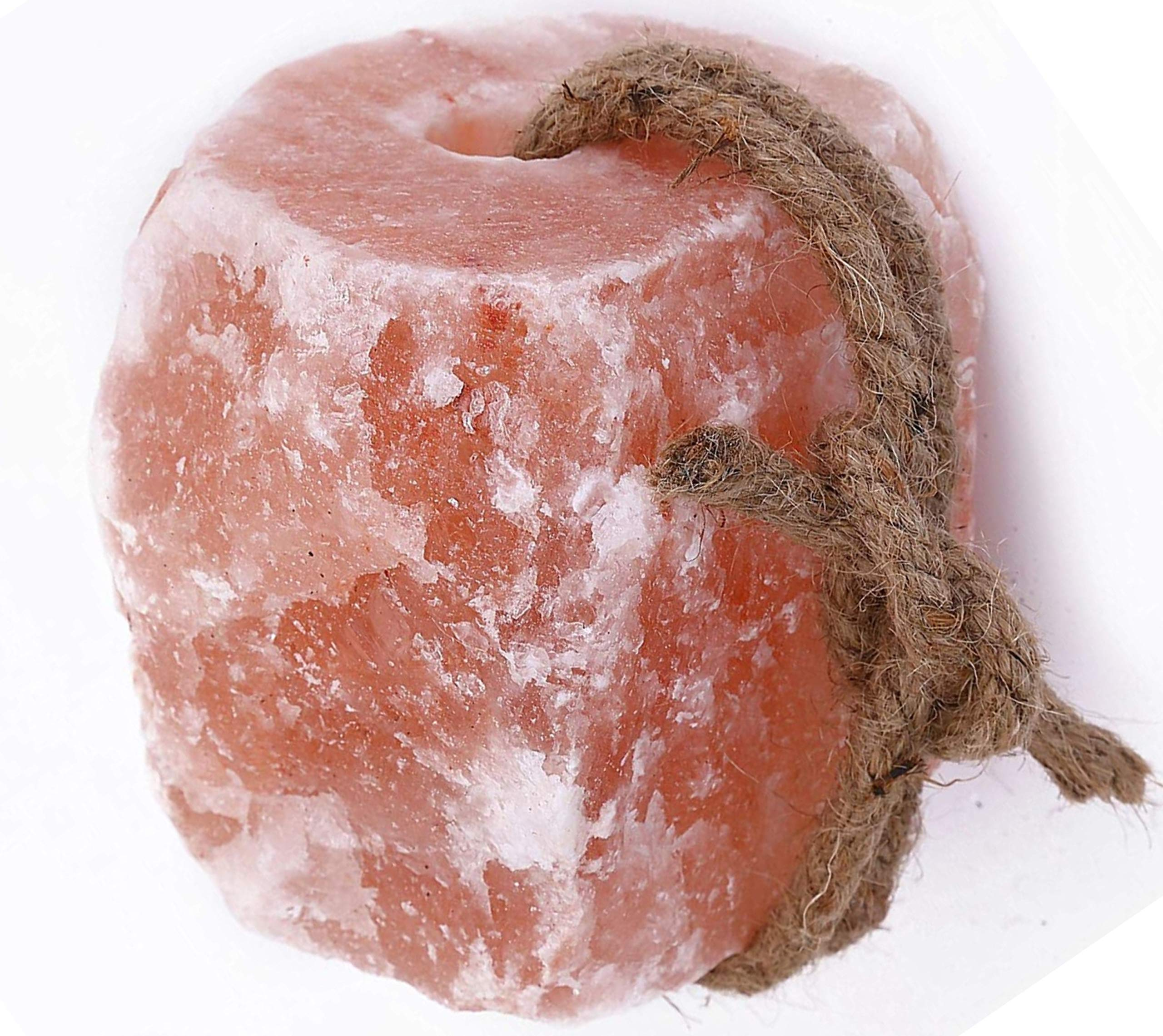 Himalayan Mineral Salt Lick (2-4 lbs on a Rope 100% Natural Product | Salt Block for Horses, Deer, Goats, Cattle, Rabbits | Vermont Salt & Stone (2-4 lbs on a Rope)