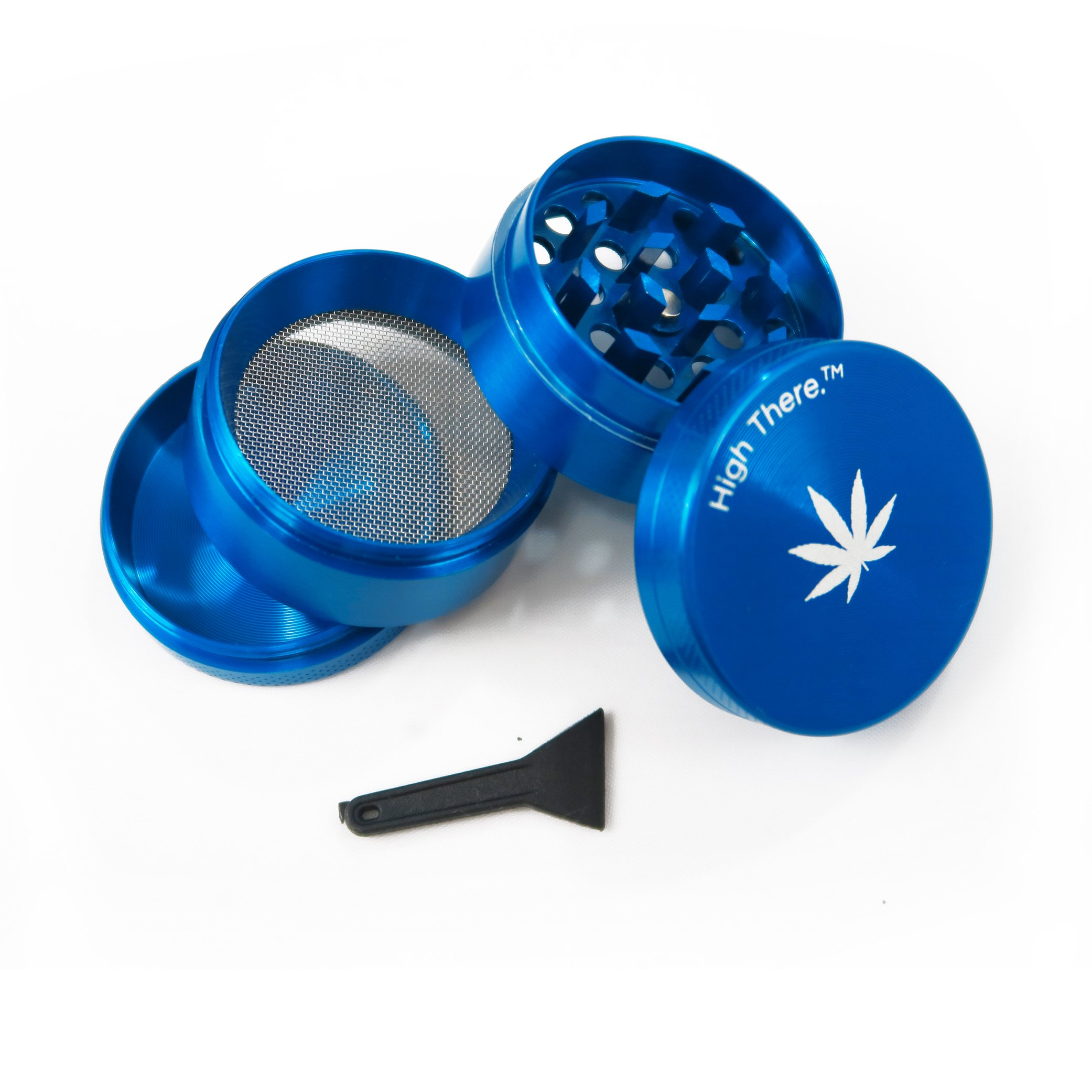 High There Ultimate 5 Piece Herb Grinder with Kief Catcher, Blue Zinc Alloy
