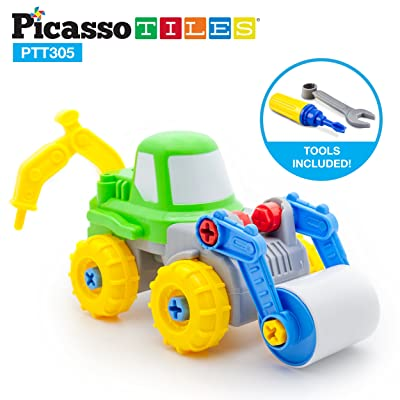 PicassoTiles Take-A-Part 2-in-1 Construction Truck Toys Car Set Jack Hammer Road Roller S.T.E.A.M Toy DIY Building Dismantling Kit with Safe Child-Size Large Parts, Screw Driver, Stubby Wrench PTT305: Toys & Games
