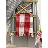 THE BEER VALLEY Buffalo Plaid Cotton Throw with Fringes 50x60 Inch -Red White, Cotton Throw for Sofa, Chair, Bed, & Everyday