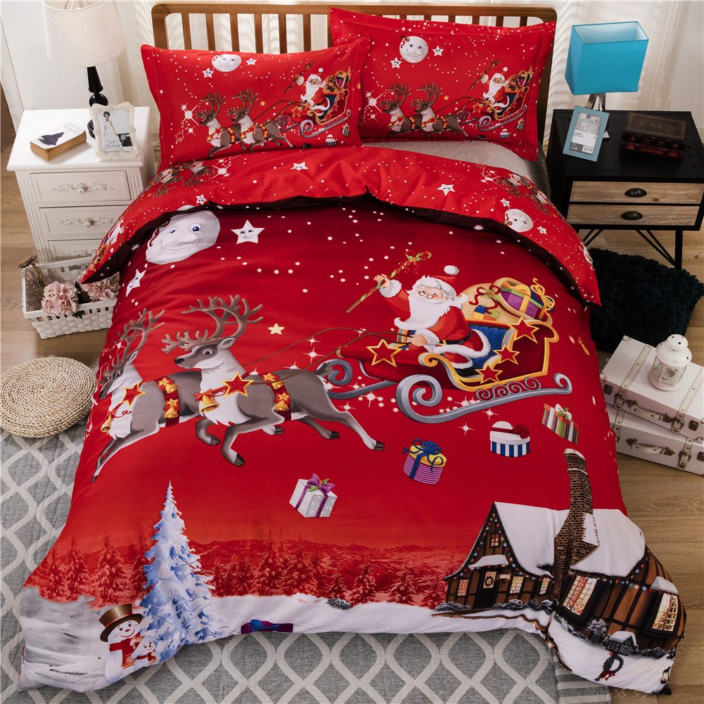 Youareking Merry Christmas 3 Pieces Duvet Covers Set with 2 Shams, Santa Claus Pattern Bedding Cover Set (King)