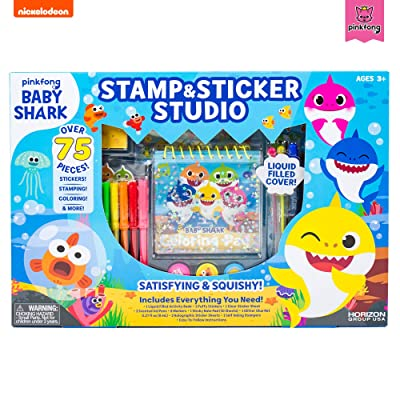 Baby Shark 99351 Stamp & Sticker by Horizon Group USA Includes Colored Markers, Sticker Sheets, Puffy Stickers, Self-Ink Stampers, Liquid Filled Activity Book Glitter Glue & More, Multi: Toys & Games