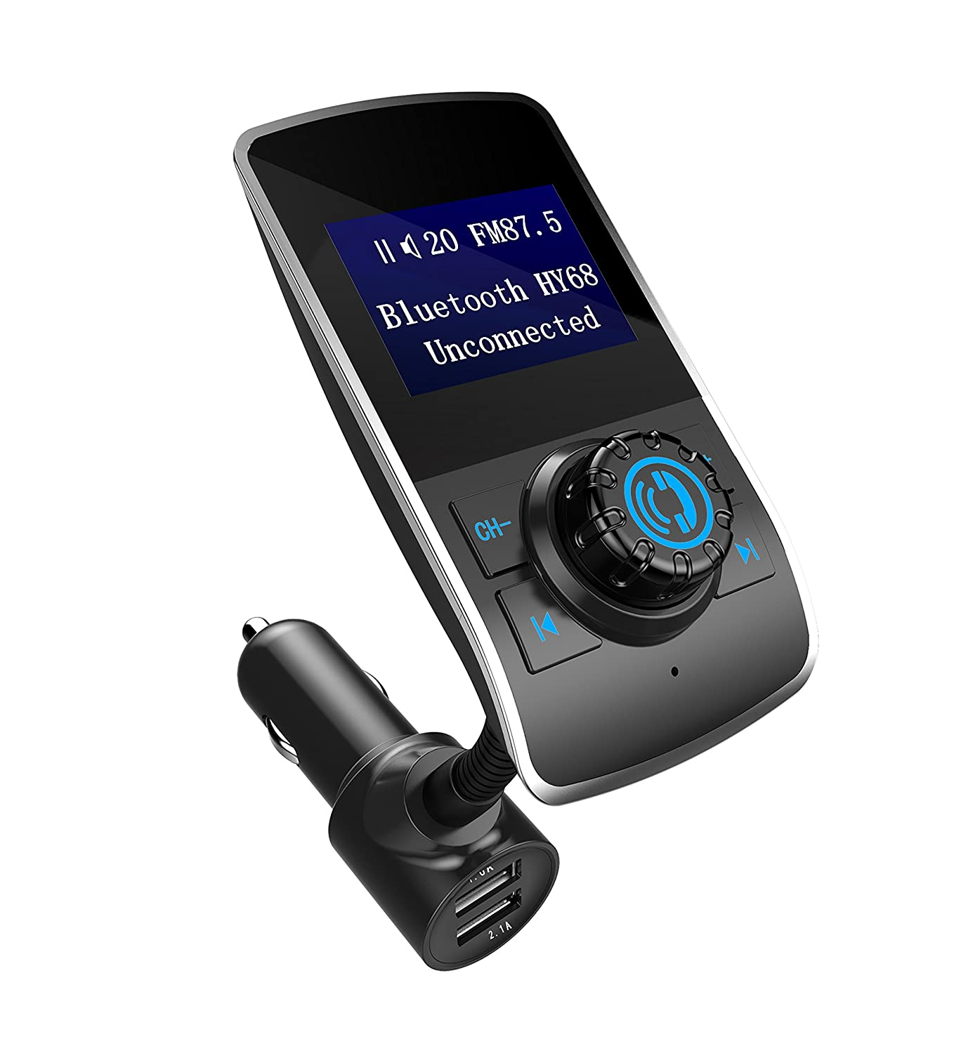 Bluetooth FM Transmitter for Car, Aigital Wireless in-Car FM Radio Adapter Car Kit MP3 Music Player Handsfree Calling, TF Card & AUX Play with Dual USB Charging Ports