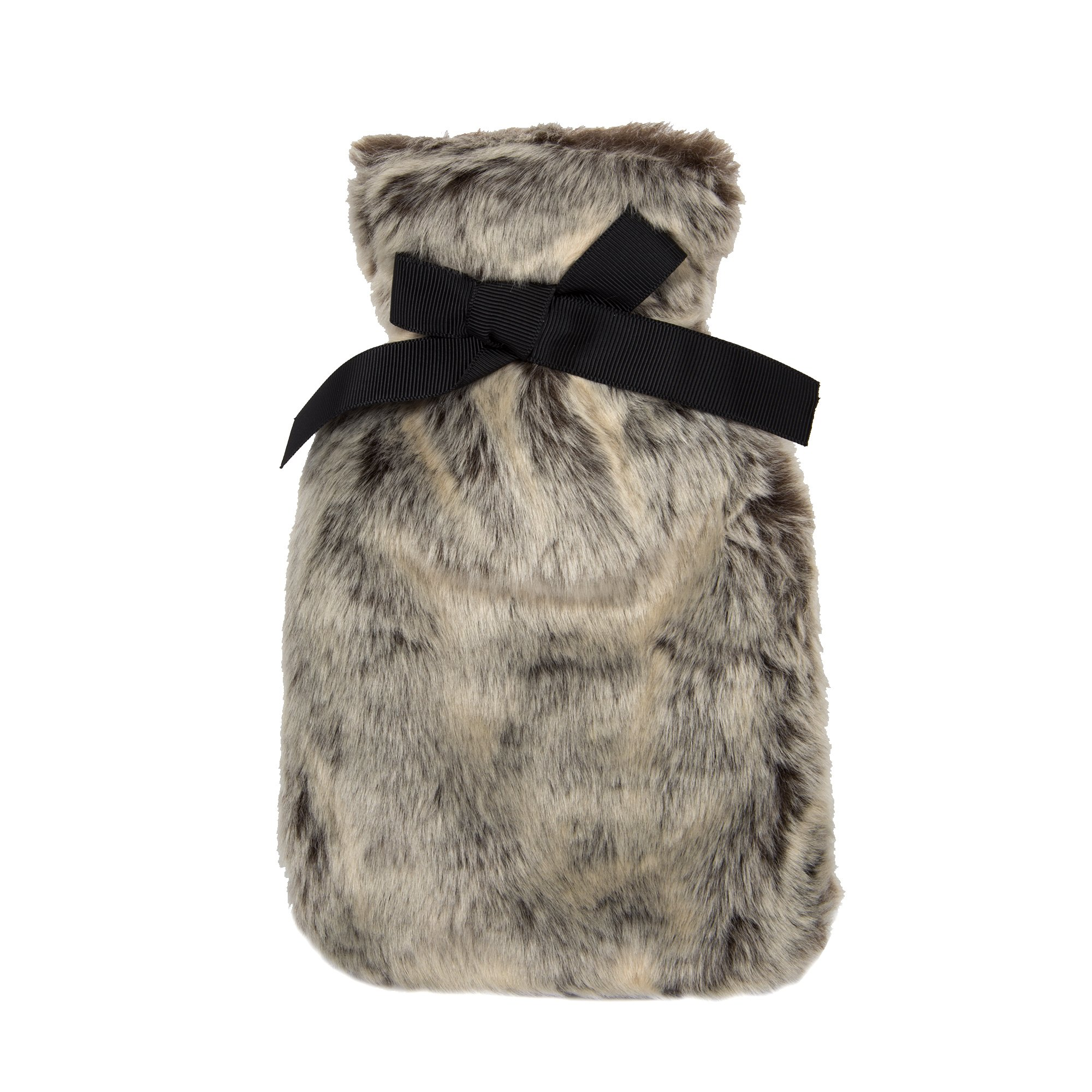 Bodico, 350ml Hot Water Bottle with Luxe Faux Fur Cover with Black Bow, 8.75 inches, Grey