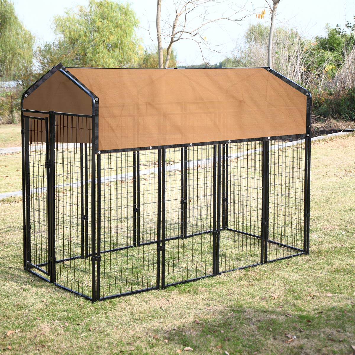 Large Dog Kennel Shade Cover Pet Crate Dog CageUV Rated Shade Cover 6 x10 ft Beige