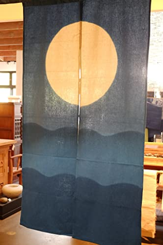 EASTERN CLASSICS Japanese Noren, AA1, Ocean and Moon, Linen Door Way Curtain