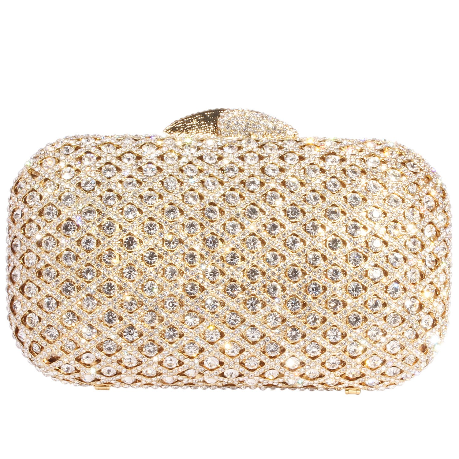 Digabi Fashion Luxury Rhinestone Purses Europe New Style women Crystal Evening Clutch Bags (One Size : 6.9 IN (L) x 4.3 IN (H) x 1.96 IN (W), White Crystal - Gold Plated) by Digabi