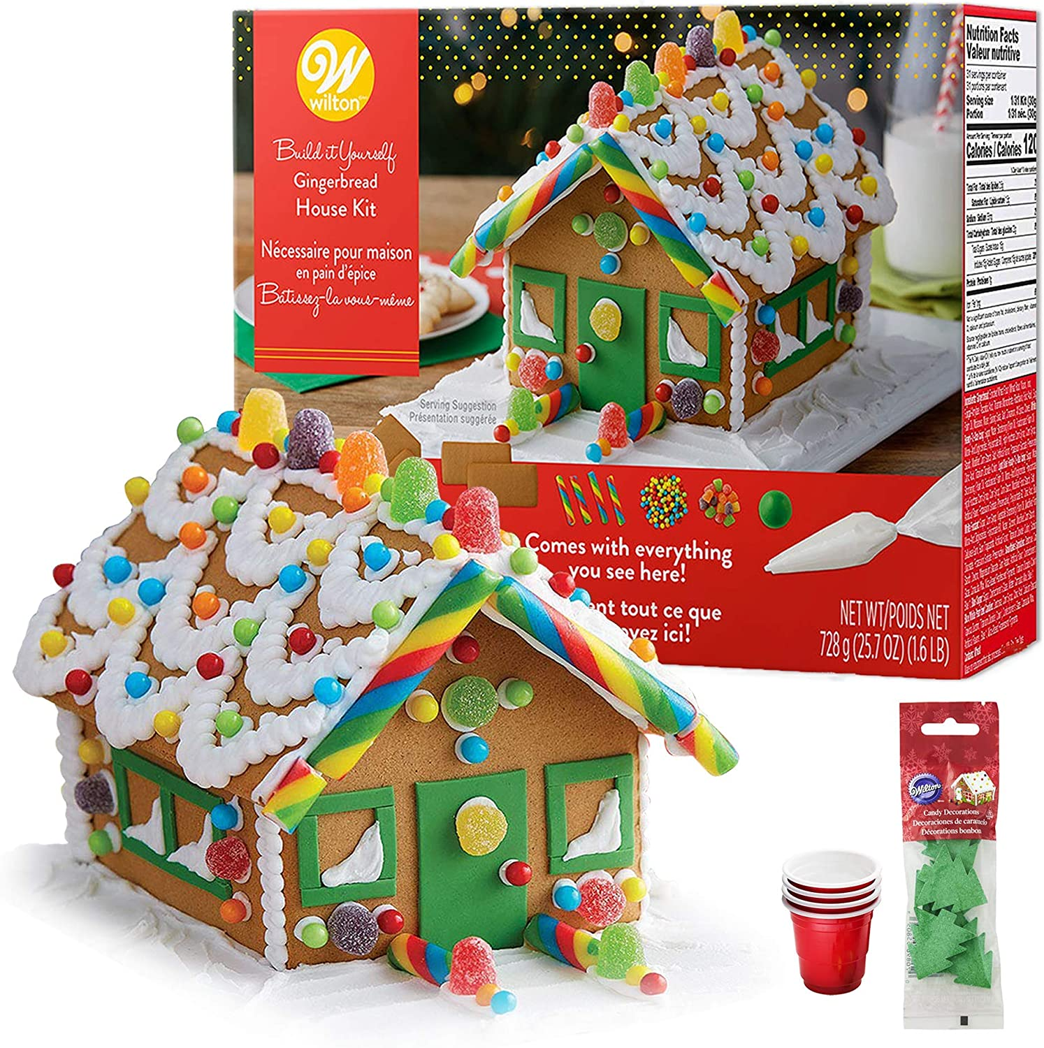 Gingerbread House Kit; Build \u0026 Decorate It Yourself, Holiday Fun Activity ,  Includes House Panels, 4 Types of Candies, Icing, Decorating Bag \u0026 Tip,