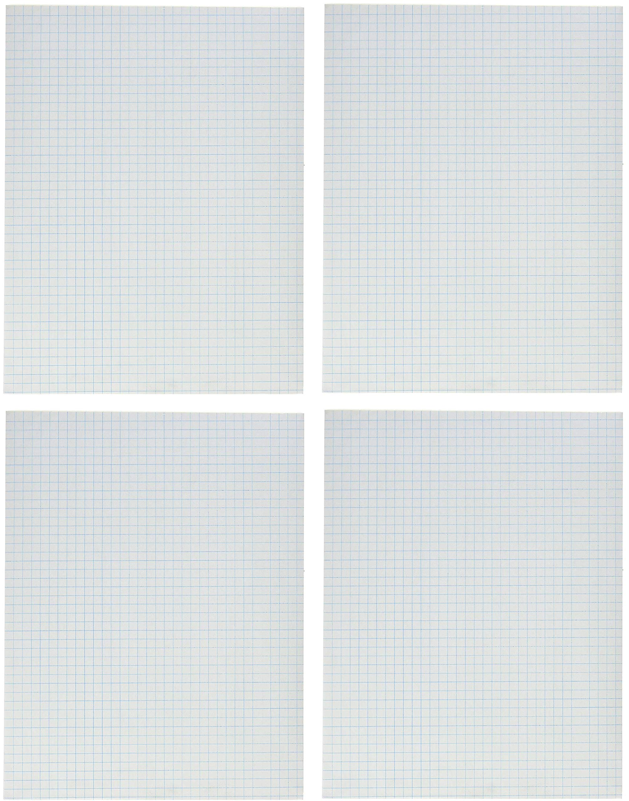 School Smart Graph Paper Pad with Chipboard Back, 8-1/2 x 11 Inches, 1/4 Inch Rule, White (4 X Pack of 12)