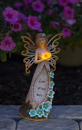 VP Home Love Grows Here Fairy Solar Powered Outdoor Decor LED Garden Light
