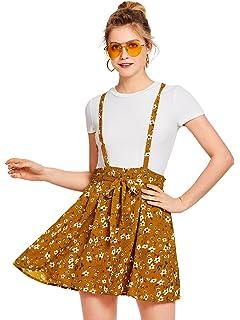 38ba268602b8 Romwe Women s Floral Print Self Tie Waist Crisscross Pinafore Overall Dress