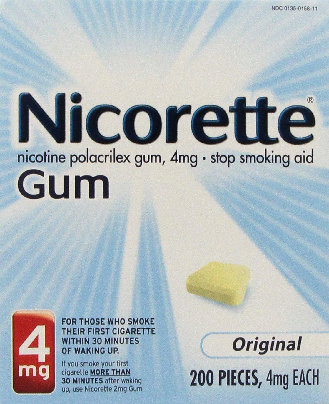 Nicorette Original Nicotine Stop Smoking OTC Gum 4mg 200 Count
