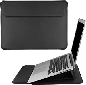 DICOLLAS 13.3 Inch Laptop Sleeve PU Leather Case 4 in 1 PC Organizer Holder Dissipate Heat Bracket and Protector Compatible with All 11 12 13 Inch Laptop Tablet iPad, Black