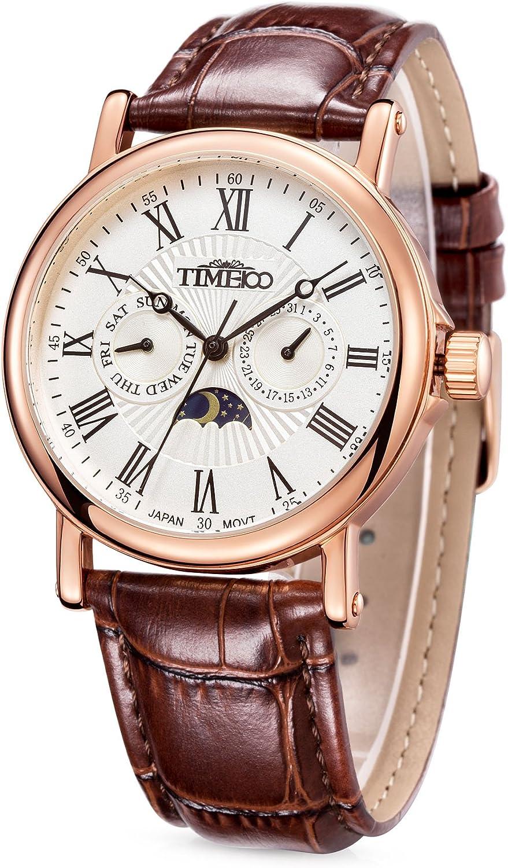 Time100 Reloj para Hombres, Correa de Cuero Color marrón