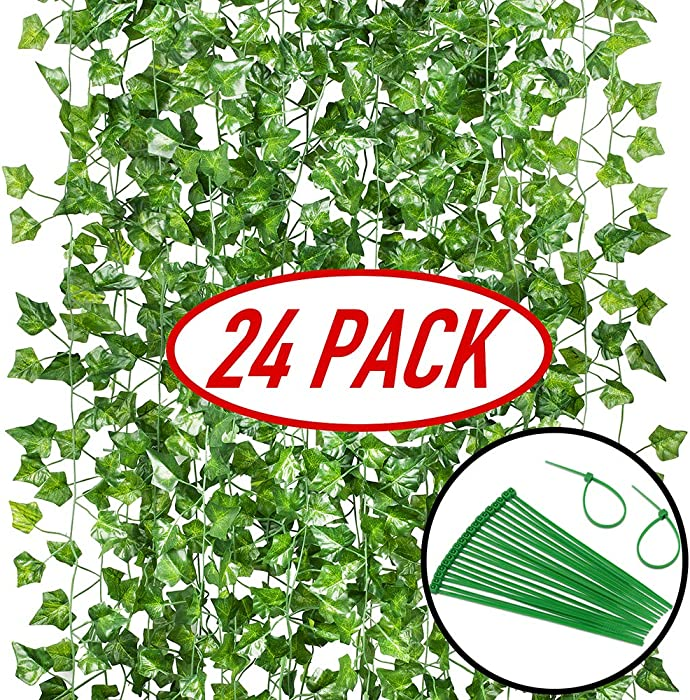 GPARK 24Pack / Each 82 inch, Artificial Ivy Garland Fake Plants, Green for Wedding Party Garden Outdoor Greenery Wall Decoration